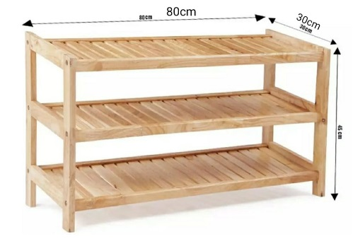 Kệ đứng để giày dép bằng gỗ 3 tầng rộng 80cm KG3T80