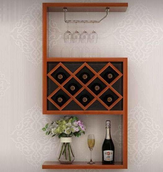 Kệ đựng rượu trang trí bằng gỗ treo tường TR02
